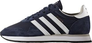 Granatowe buty sportowe Adidas sznurowane ze skóry