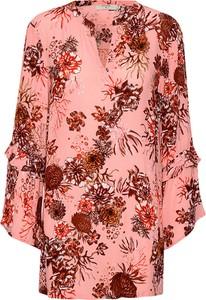 Bluzka Cream z długim rękawem w stylu boho z dekoltem w kształcie litery v