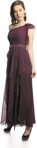 Czerwona sukienka Fokus rozkloszowana w stylu glamour maxi
