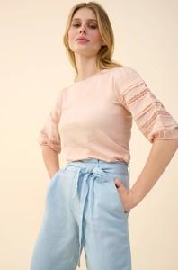 Różowa bluzka ORSAY z dzianiny w stylu casual z okrągłym dekoltem