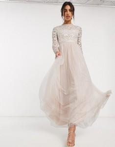 Różowa sukienka Needle & Thread maxi z tiulu z długim rękawem