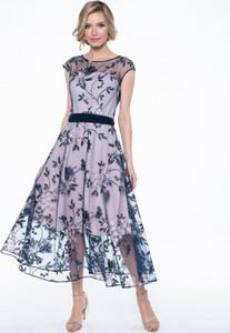 Granatowa sukienka POTIS & VERSO z szyfonu gorsetowa