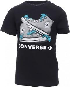Czarna koszulka dziecięca Converse z krótkim rękawem z bawełny dla chłopców