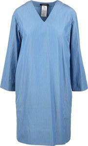 Niebieska sukienka MaxMara z dekoltem w kształcie litery v mini z bawełny