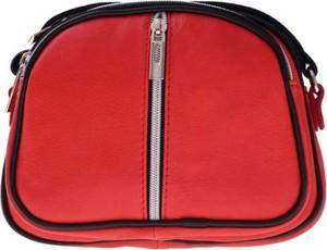 Czerwona torebka GENUINE LEATHER w stylu casual ze skóry mała