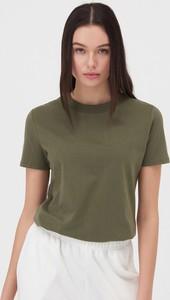 Zielony t-shirt Sinsay z okrągłym dekoltem w stylu casual