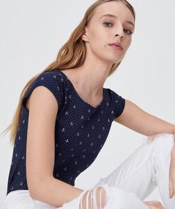 Granatowy t-shirt Sinsay z krótkim rękawem w stylu casual