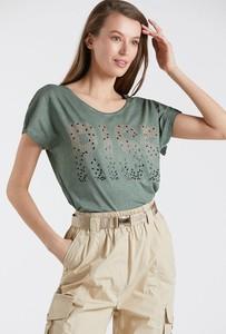 Zielona bluzka Monnari z okrągłym dekoltem z krótkim rękawem