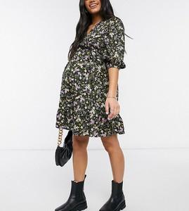 New Look Maternity – Czarna sukienka mini w kwiaty z wiązaniem z przodu-Czarny