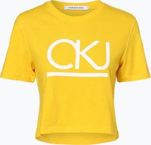 Żółty t-shirt Calvin Klein z krótkim rękawem w młodzieżowym stylu