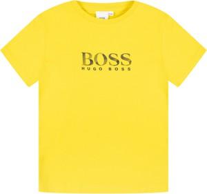 Żółta koszulka dziecięca Hugo Boss z krótkim rękawem
