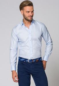 Niebieska koszula LANCERTO z klasycznym kołnierzykiem z długim rękawem