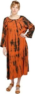 Pomarańczowa sukienka Hod Paris z długim rękawem maxi