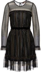 Czarna sukienka Twinset rozkloszowana z długim rękawem