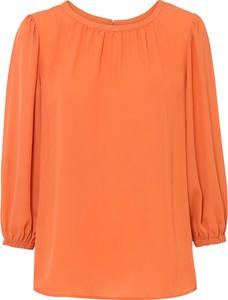 Pomarańczowa bluzka bonprix w stylu casual z szyfonu z okrągłym dekoltem
