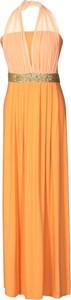 Sukienka Fokus rozkloszowana maxi z dekoltem w kształcie litery v