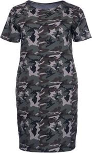 Sukienka modneduzerozmiary.pl z krótkim rękawem z bawełny w militarnym stylu