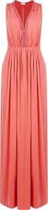 Sukienka Elisabetta Franchi z dekoltem w kształcie litery v maxi bez rękawów