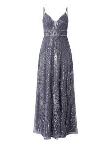 Niebieska sukienka Luxuar maxi na ramiączkach z dekoltem w kształcie litery v