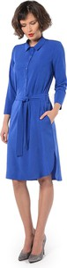 Niebieska sukienka Rita Koss midi z długim rękawem