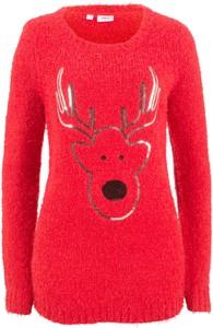 Sweter bonprix bpc bonprix collection w stylu casual w bożonarodzeniowy wzór