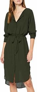Sukienka amazon.de midi z dekoltem w kształcie litery v z długim rękawem