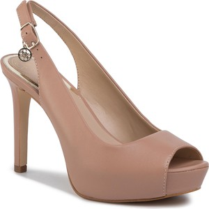Różowe sandały Guess na wysokim obcasie z klamrami