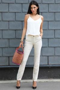 Spodnie IVET z lnu w stylu klasycznym