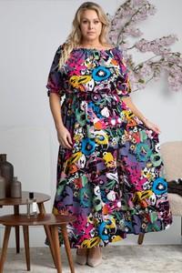 Sukienka KARKO maxi dla puszystych z długim rękawem