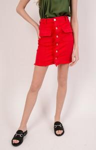 Czerwona spódnica Olika z jeansu mini