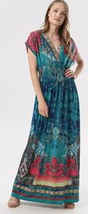 Zielona sukienka born2be z krótkim rękawem maxi
