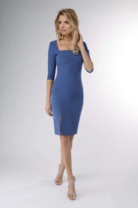 Niebieska sukienka Nommo z okrągłym dekoltem z długim rękawem ołówkowa