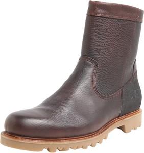 Brązowe buty zimowe Bullboxer ze skóry