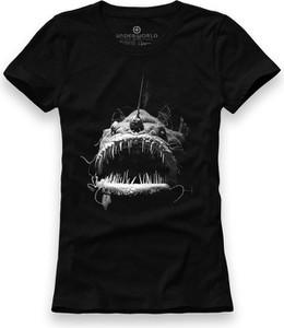 Czarny t-shirt Underworld z okrągłym dekoltem z bawełny z krótkim rękawem
