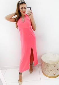 Różowa sukienka Novvi.pl z dekoltem w kształcie litery v bez rękawów