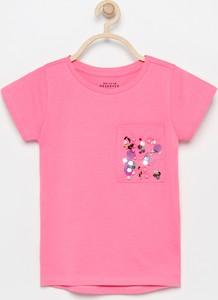 Różowa koszulka dziecięca Reserved z krótkim rękawem