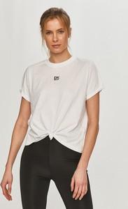 Bluzka DKNY z krótkim rękawem z okrągłym dekoltem z dzianiny