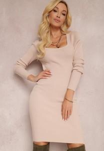 Różowa sukienka Renee z długim rękawem z dzianiny mini