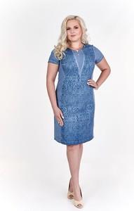 Niebieska sukienka Fokus w młodzieżowym stylu midi z krótkim rękawem