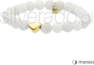 Silverado biała bransoletka z kamieni matowych jadeitów z sercem 14k złoto 77-ba385gw
