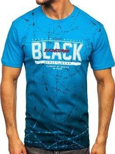 Niebieski t-shirt Denley w młodzieżowym stylu z bawełny z nadrukiem