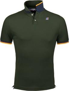 Zielona koszulka polo K-Way w stylu casual z krótkim rękawem