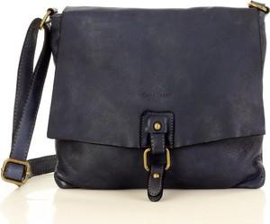 Czarna torebka Marco Mazzini Handmade matowa na ramię ze skóry