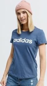 Niebieski t-shirt Adidas z krótkim rękawem