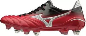 Czerwone buty sportowe Mizuno ze skóry sznurowane