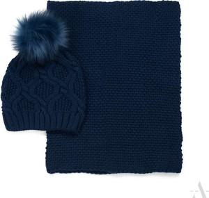 POLSKA Komplet damski: czapka z pomponem i szalik / komin granatowy