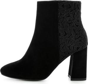 Czarne botki Prima Moda na słupku z zamszu w stylu klasycznym