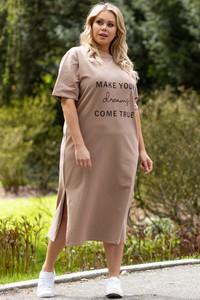 Sukienka KARKO z okrągłym dekoltem w stylu casual dla puszystych