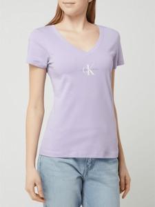 Fioletowa bluzka Calvin Klein z bawełny z okrągłym dekoltem