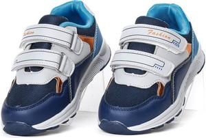 Granatowe buty sportowe dziecięce Royalfashion.pl dla chłopców na rzepy